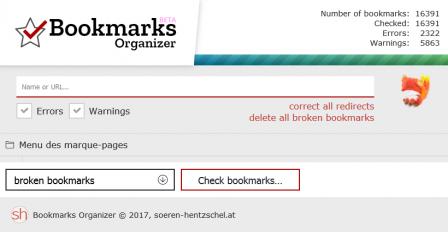 Bookmarks Organizer : fin de vérification des marque-pages cassés