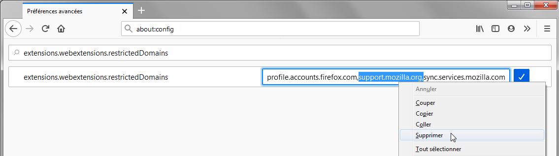 Firefox 71 : Préférences avancées – extensions.webextensions.restrictedDomains, (support.mozilla.org surligné)