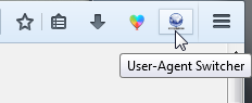 Bouton d'User-Agent Switcher (revived) dans Firefox