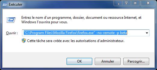Avec Exécuter, lancer Firefox avec un profil