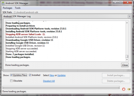 Android SDK Manager Log