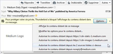 Thunderbird 45 : menu de blocage du contenu distant