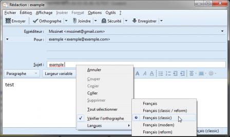 Thunderbird 45 : changer langue du dico du vérificateur orthographique dès le sujet