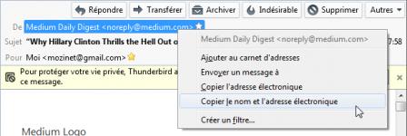 Thunderbird 45 : copier le nom et l'adresse électronique