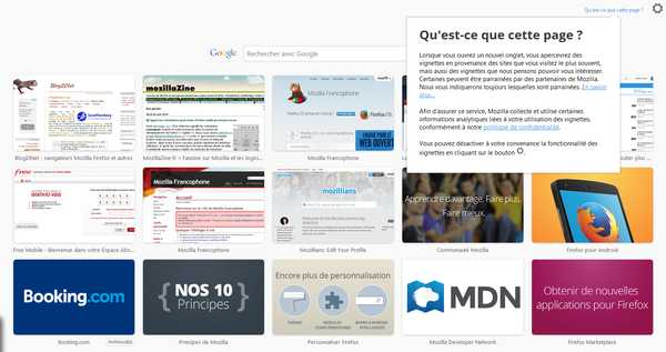 Page nouvel onglet avec tuiles dans Firefox 36 Nightly fr