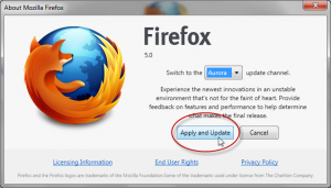 About Mozilla Firefox > Apply and Update