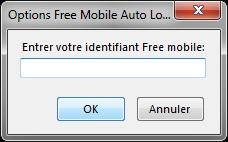 Options de Free Mobile Auto Login : Entrer votre identifiant Free Mobile