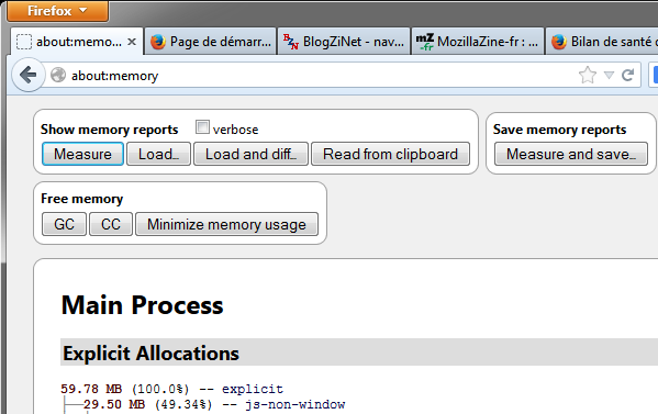 Interface d'about:memory remaniée dans Firefox 23 bêta