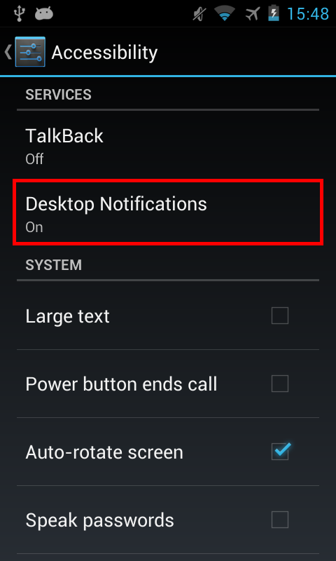 Android 4.2- : Paramètres > Accessibilité > Desktop Notifications > Activé