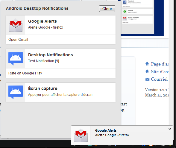 Notifications d'Android Desktop Notifications dans Firefox