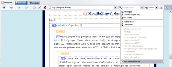 Affichage de la structure d'un document HTML par Opera avec embed affiché