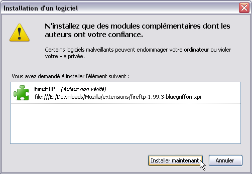 BlueGriffon > Installer une extension