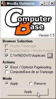 CB Mozilla Optimizer 1.5 interface: choix du dossier de profil