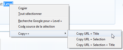 Menu contextuel de Copy++
