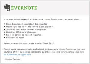 Courrier d'Evernote d'autorisation de l'appli Notes de Firefox OS