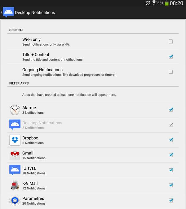 Paramètres de l'application Desktop Notifications sous Android 4.3