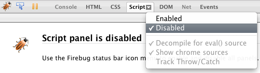 Mini menu de Script dans Firebug - Disabled