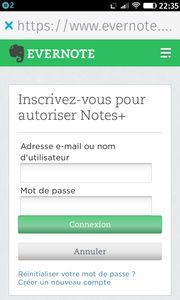 Autoriser Evernote dans l'appli Notes de Firefox OS