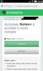 Evernote : Autoriser Notes+ à accéder à votre compte
