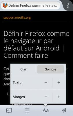 Firefox mode lecture sombre - Android ICS