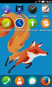 Écran d'accueil de Firefox OS avec l'application Notes
