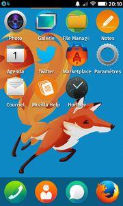 Écran d'accueil de Firefox OS avec l'application Notes 2.2.7