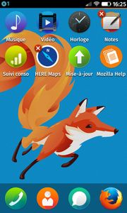 Croix rouge de désinstallation sur l'appli Notes de Firefox OS