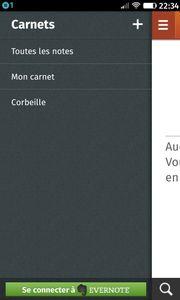 Se connecter à Evernote dans le menu de l'appli Notes de Firefox OS