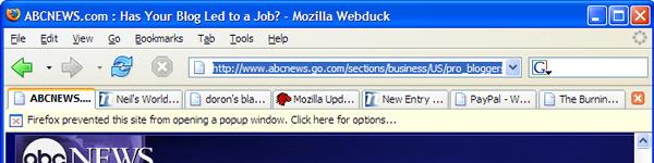 Barre d'alerte lors du blocage d'une popup dans Firefox 1.0 PR