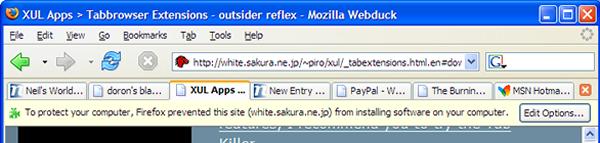 Barre d'alerte lors du blocage de l'installation d'un XPI dans Firefox 1.0 PR