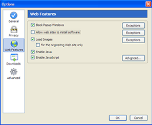 Volet 'Web Features' de la fenêtre d'options