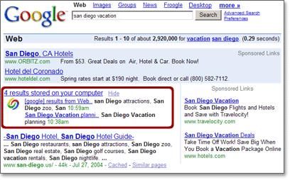 Résultats de Google sur le Web avec recherhce local intégrée