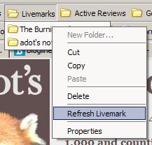 Menu contextuel avec item Refresh des livemarks