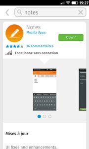 L'appli Notes des Mozilla Apps sur le Marketplace de Firefox OS