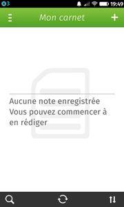 Couleur verte de l'appli Notes avec Evernote connecté