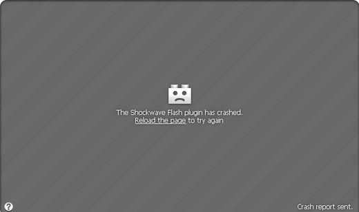 The Shockwave Flash plugin has crashed