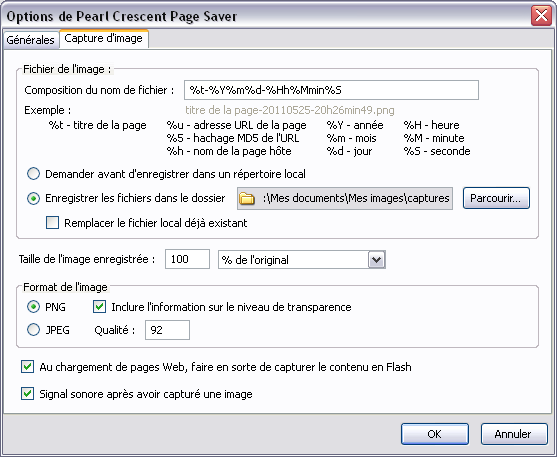 Options (onglet Capture d'image) de Pearl Crescent Page Saver Basic