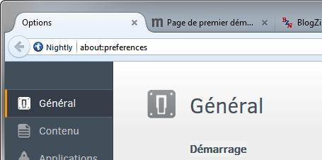 Préférences in-content dans Firefox Nightly