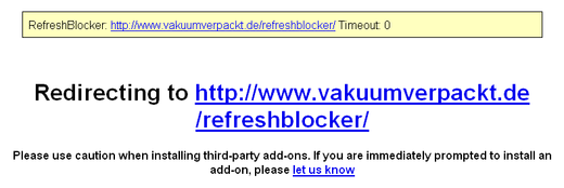 Page de redirection avec RefreshBlocker