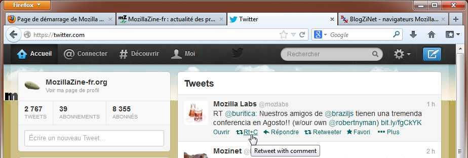 Retweet with comment dans Twitter avec Firefox
