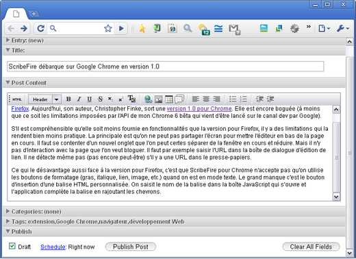 ScribeFire 1.0 dans Google Chrome