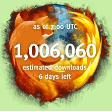 Compteur de téléchargements de Firefox ayant dépassé le million