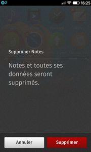 Supprimer Notes : Notes et toutes ses données seront supprimés.