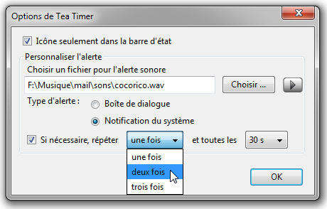 Tea Timer 0.15.0 options répéter.