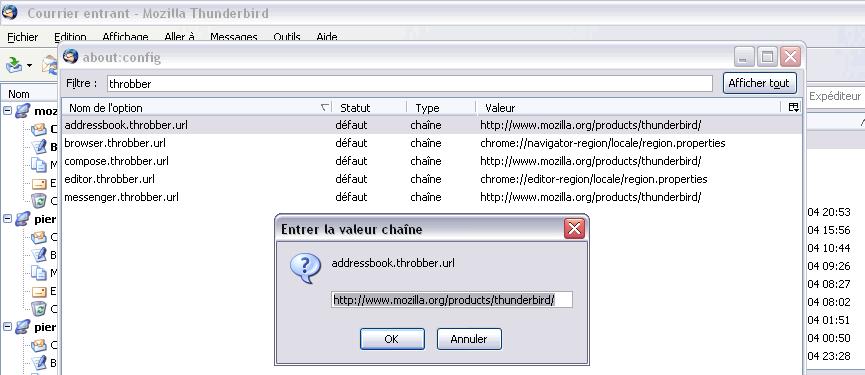 Boîte de dialogue de modification des préférence dans la fenêtre About:config ajoutée dans Thunderbird