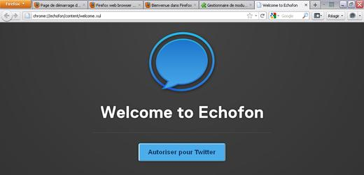 Welcome to Echofon dans Firefox 4